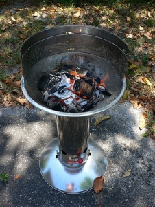 Using natural wood charcoal and hickory. Photo By cledry